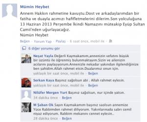 Tuzla Kaymakamımız Mümin Heybet annesinin vefatını facebooktan böyle duyurdu.