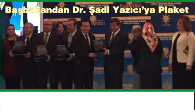 Başbakandan, Belediye Başkanımıza Plaket verildi.
